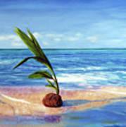 Coconut on beach Art Print