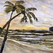 Coconut Palms On Cloudy Day Art Print