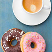 Coffee And Baked Donuts Art Print