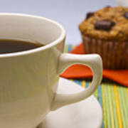 Coffee And Chocolate Muffin Art Print