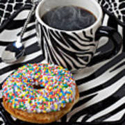 Coffee And Donut On Striped Plate Art Print