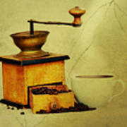 Coffee Mill And Cup Of Hot Black Coffee Art Print
