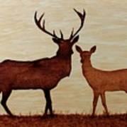 Coffee Painting Deer Love Art Print