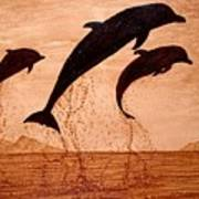 Coffee Painting Dolphins Playing Art Print