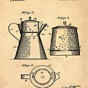 Coffee Pot Patent 1916 Sepia Art Print