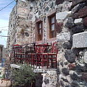 Coffee Shop In Santorini Art Print