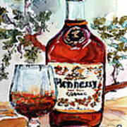 Cognac Hennessy Bottle And Glass Still Life Art Print