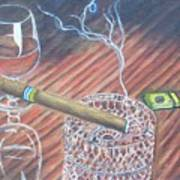 Cohiba And  Wine Art Print