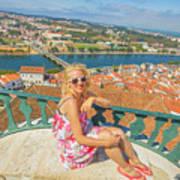 Coimbra Cityscape Woman Art Print