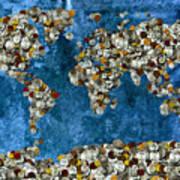 Coins World Map Art Print