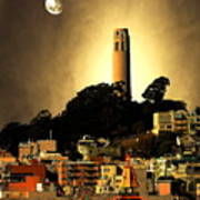 Coit Tower And The Empress Of China Under The Golden Moonlight Art Print