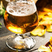 Cold Beer And Delicious Snacks Art Print