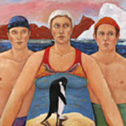 Cold Water Swimmers Art Print by Paula Wittner