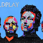 Coldplay Band Portrait Recycled License Plates Art On Blue Wood Art Print