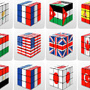 Collage Of Flags Of Different Nation  Art Print