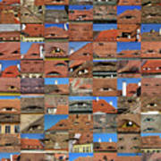 Collage Roof And Windows - The City S Eyes Art Print