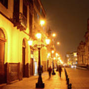 Colonial Street In Central Lima At Night Art Print
