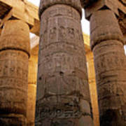 Colonnade In The Karnak Temple Complex At Luxor Print by Sami Sarkis