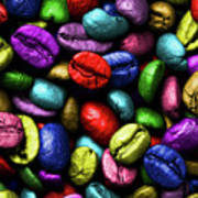 Color Full Coffe Beans Art Print