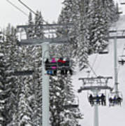 Colorado Chair Lift During Winter Art Print by Brendan Reals