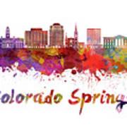 Colorado Springs V2 Skyline In Watercolor Art Print