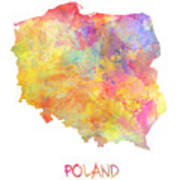Colored Map Of Poland Art Print