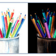 Colored Pencils - The Positive And The Negative Art Print