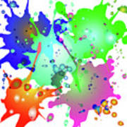 Colored Splashes On A Blue Background Art Print