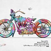 Colorful 1928 Harley Motorcycle Patent Artwork Art Print