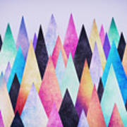 Colorful Abstract Geometric Triangle Peak Woods  Art Print