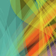 Colorful Abstract Vector Background Banner, Transparent Wave Lin Art Print