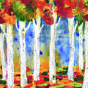 Colorful Aspen Trees View Art Print