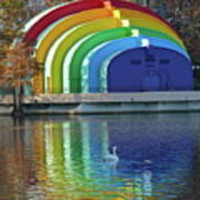 Colorful Bandshell And Swan Art Print