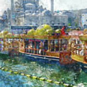 Colorful Boats In Istanbul Turkey Art Print
