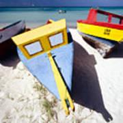 Colorful Boats On  Eagle Beach  Aruba Art Print by George Oze