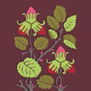 Colorful Botanical Hand Drawn Strawberry Bush Isolated On Vinous Art Print