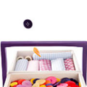 Colorful Buttons Fall Into A Sewing Box Art Print