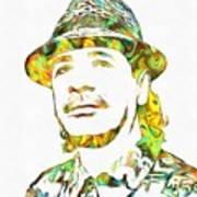 Colorful Carlos Santana Art Print