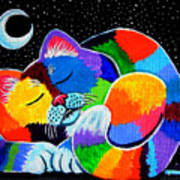 Colorful Cat In The Moonlight Art Print by Nick Gustafson