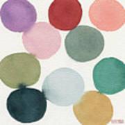 Colorful Circles Abstract Watercolor Art Print