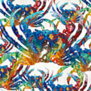 Colorful Crab Collage Art By Sharon Cummings Art Print