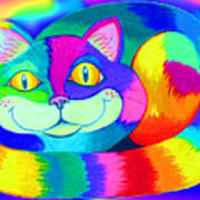 Colorful Crazy Cat Art Print