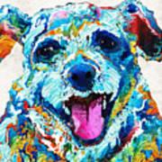 Colorful Dog Art - Smile - By Sharon Cummings Art Print