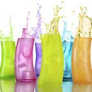 Colorful Drink Splashing From Glasses Art Print