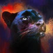 Colorful Expressions Black Leopard Art Print