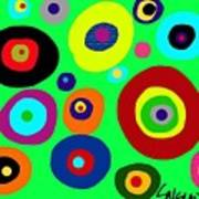 Colorful Eyes In The Green Sky Art Print