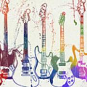 Colorful Fender Guitars Paint Splatter Art Print