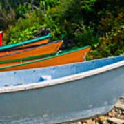Colorful Fishing Boats On A Rocky Shore  Grand Manan Art Print