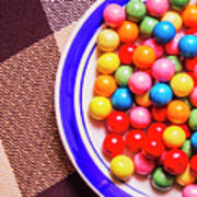 Colorful Gumballs On Plate Art Print