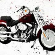 Colorful Harley Davidson Paint Splatter Art Print